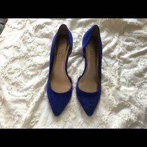 BCBG blue suede kitten heels